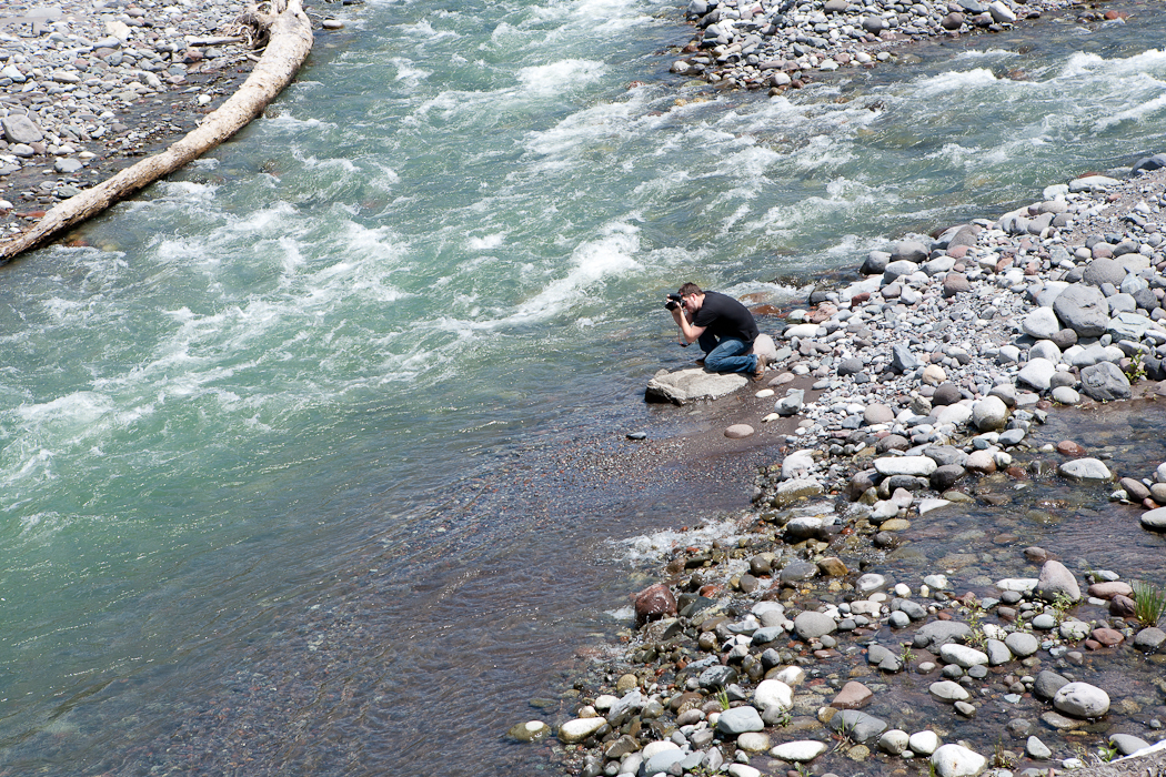 seattle engagement photographer, seattle wedding photographer, photographer in action, photographer in a river