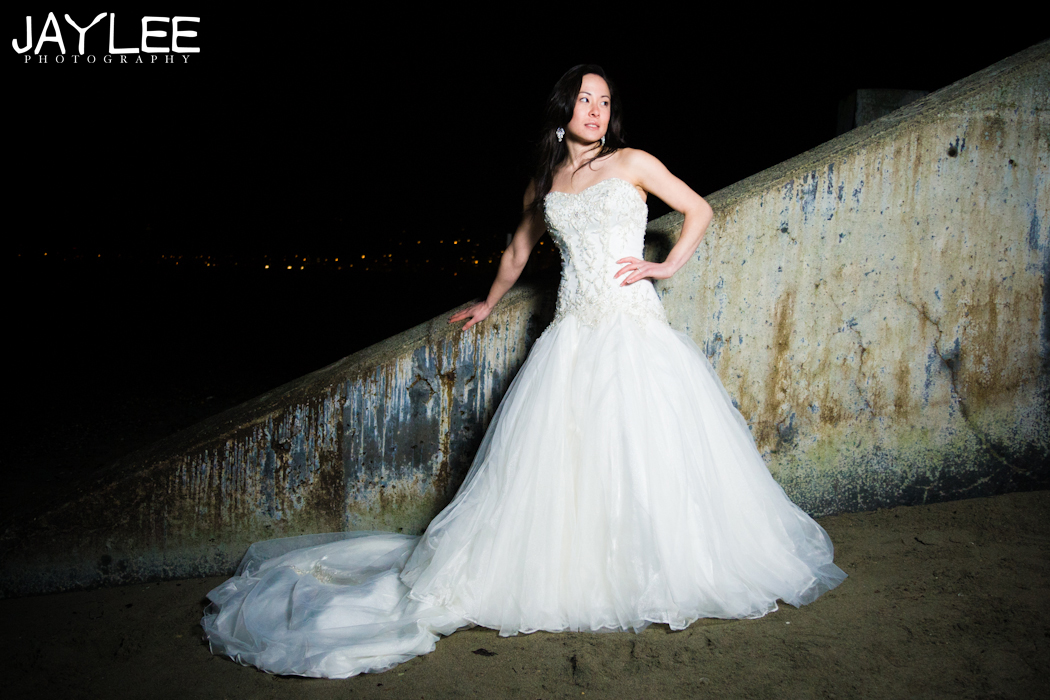 bridal portrait, seattle bridal portraits, night time bridal portrait, night photography bridal, beach photography bridal, bridal portraits, seattle wedding photographers