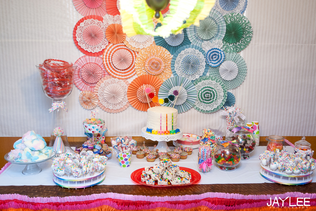 rainbow party table, sweet table birthday, dessert table design, birthday party, 3 year old birthday party, girl's birthday party, rainbow birthday party theme, birthday party photographer seattle, seattle event photographer, seattle children's photographer, seattle kids photographer, seattle family photographer