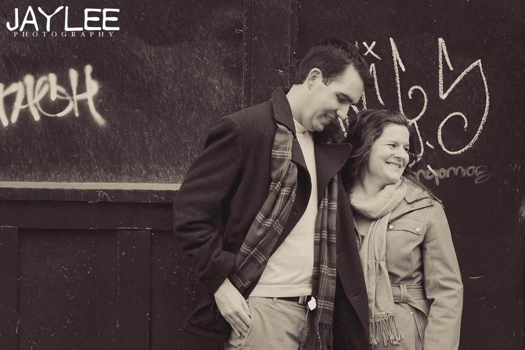 black and white engagement photography, graffiti engagement session, seattle downtown engagement
