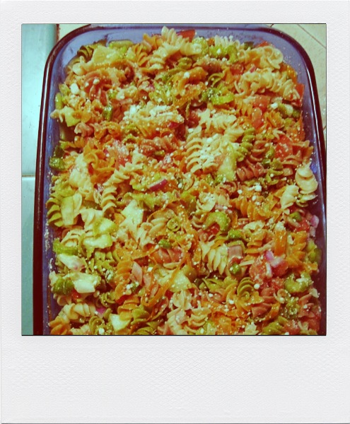 pasta salad, easy pasta salad, dinner party, married dinner party