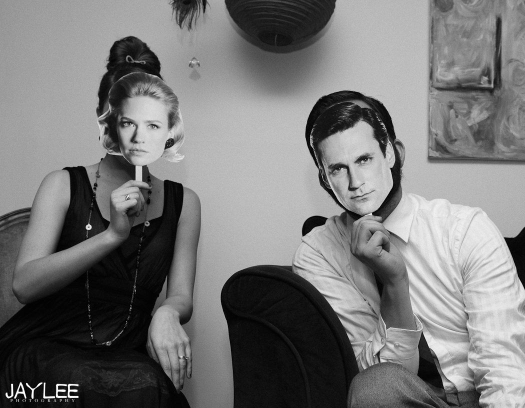Mad Men party masks, mad men masks, betty and don costumes, mad men party, photographer personal post, seattle photographer blog, mad men party season 5