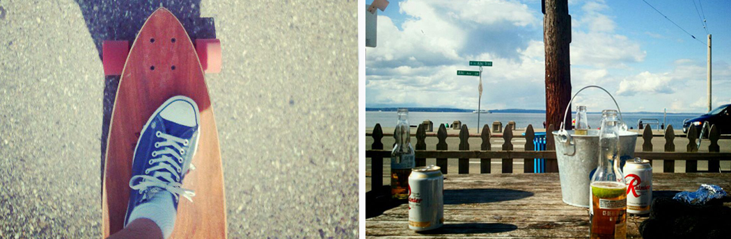 alki beach, slices on alki, bucket of beer on alki, long boarding on alki, newlywed post, blog about marriage, husband and wife blog, seattle wedding photographers, wedding photographer blog, personal post wedding photographer