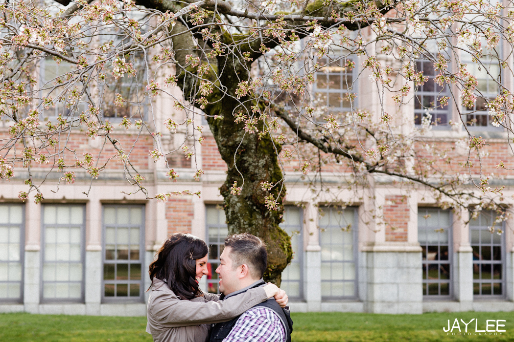 beautiful engagement photography seattle, unique engagement session seattle, engagement photography seattle, seattle wedding photographer, top wedding photographers seattle, modern wedding photographer seattle, modern engagement photographer seattle, cherry blossom tree engagement, cherry blossoms UW engagement, cherry blossom UW