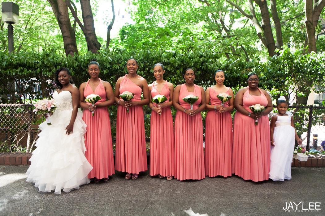 bridesmaid photography, pink bridesmaid dresses, seattle wedding hyatt