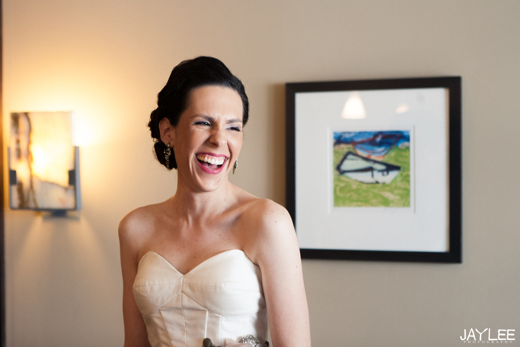 classy laughing bride at grand hyatt seattle