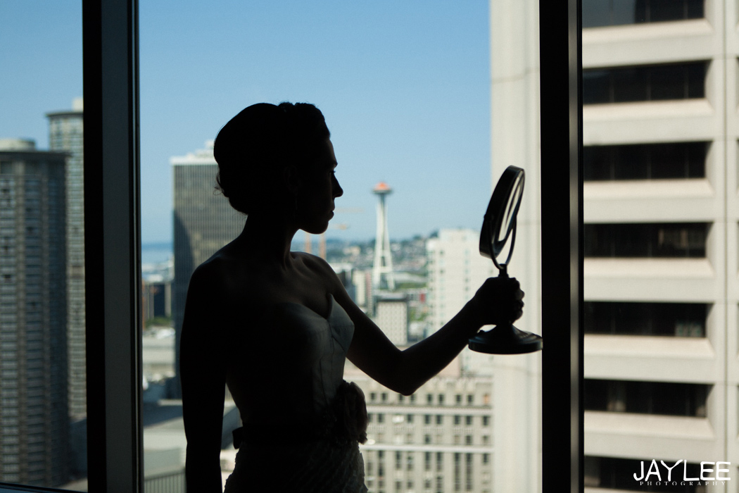 bride and mirror with space needle in the background