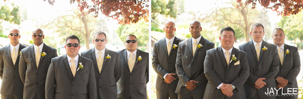 grey and yellow groomsmen outfits