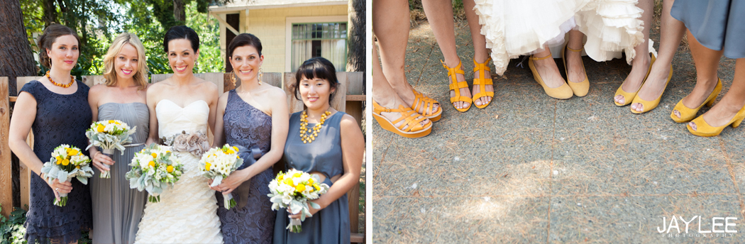 grey bridesmaids dresses with yellow flowers and yellow shoes