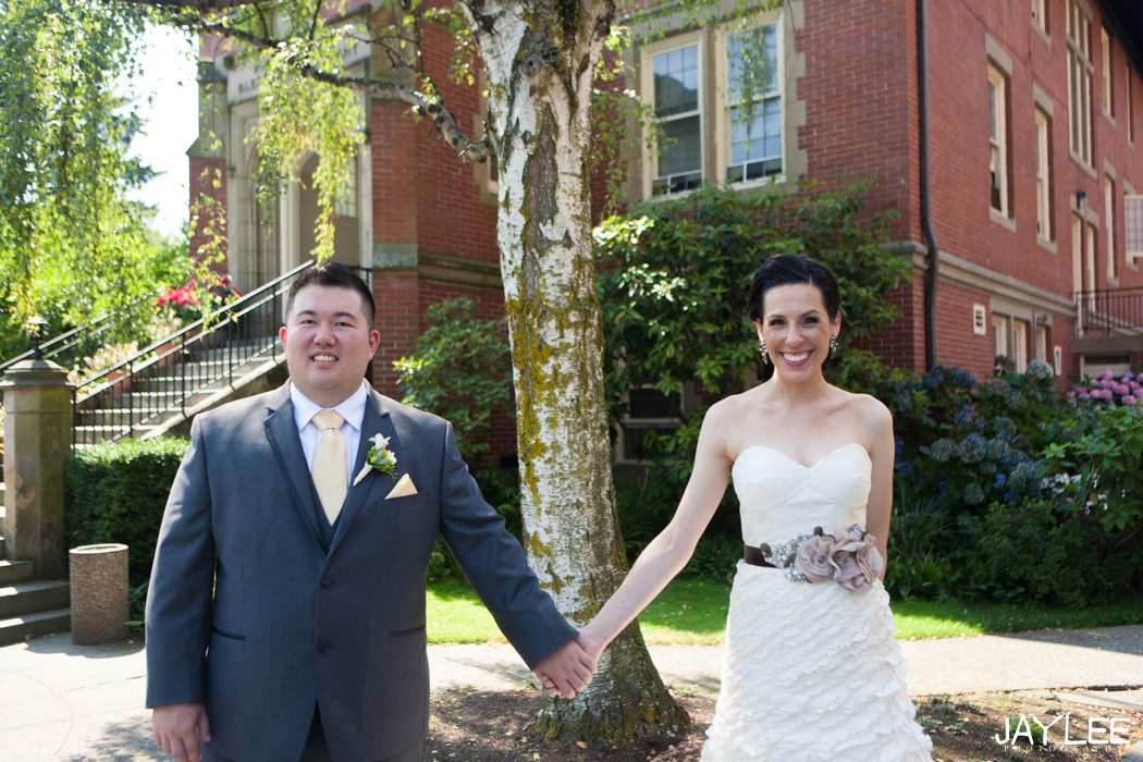 wedding couple in yellow and grey at blessed sacrament in seattle, washington