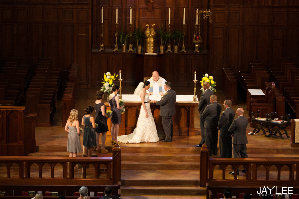 catholic wedding ceremony at blessed sacrament church in university district seattle, washington