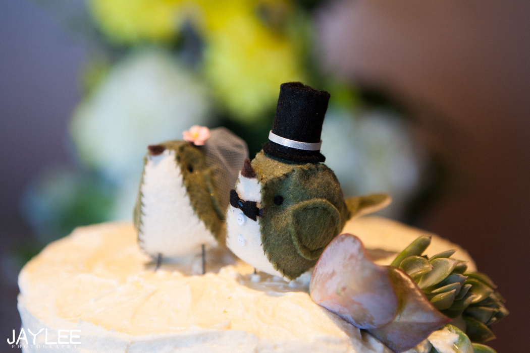 wedding cake topper sewn birds