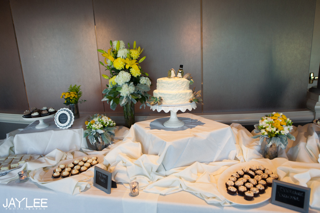 harbor club wedding reception dessert table