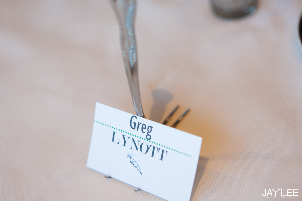 unique forks place settings at wedding reception