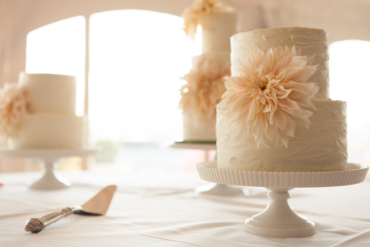 Two Tiered Vintage Wedding Cake With Rustic Flower