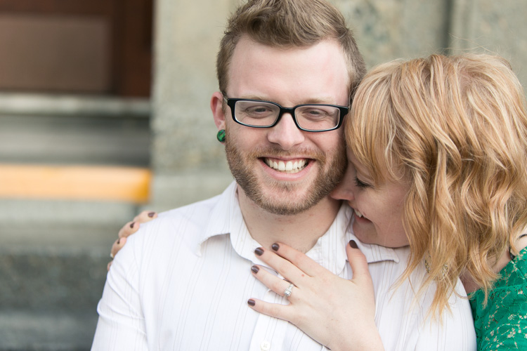 green plugs and summer dress for engagement photos