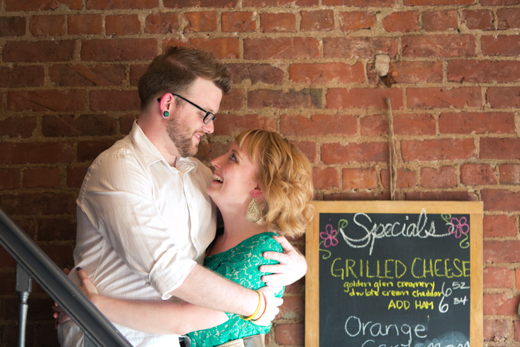 grilled cheese special at anchored ship coffee bar for engagement photo shoot