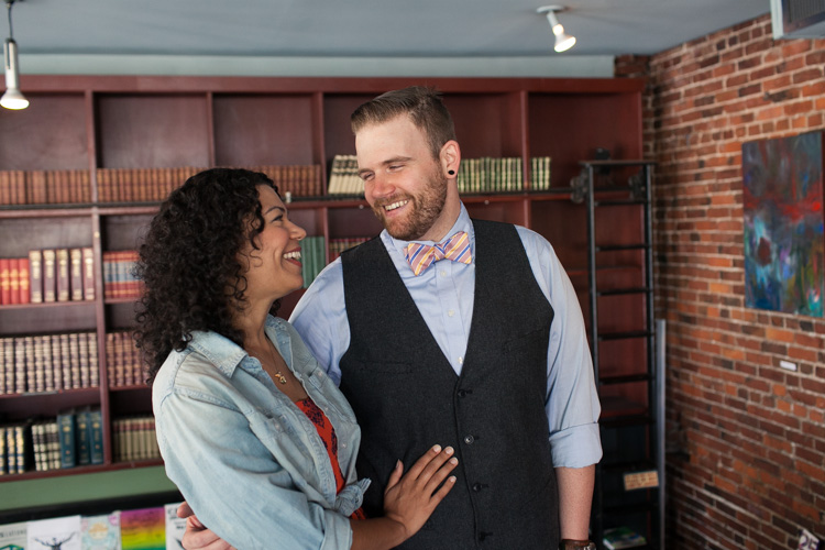 striped color bow tie grey vest and blue shirt engagement photos