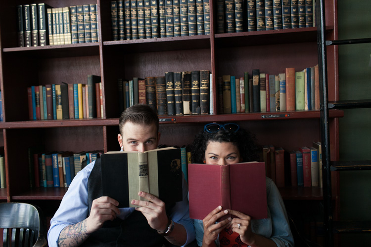 engagement session at bauhaus books and coffee in seattle