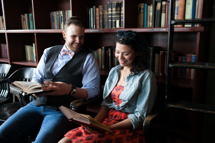 engagement photos with trendy couple at bauhaus books in seattle washington