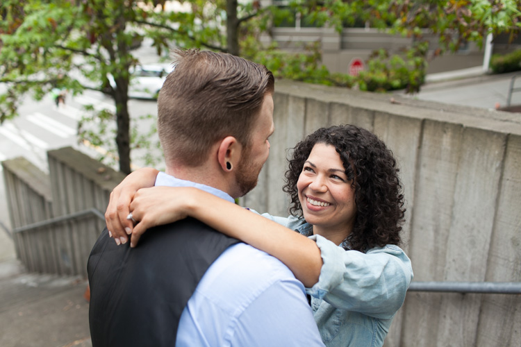 engagement photos at convention center in seattle, washington