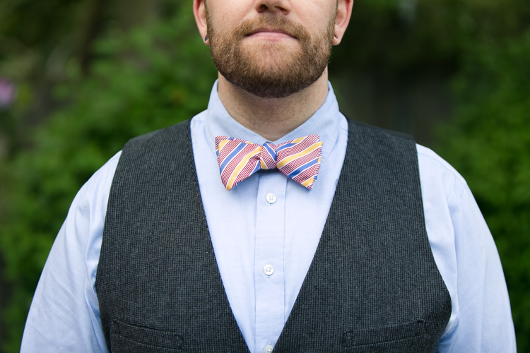striped bow tie beard and vest for engagement photos