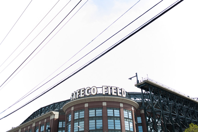 engagement photos at safeco field in seattle, washington