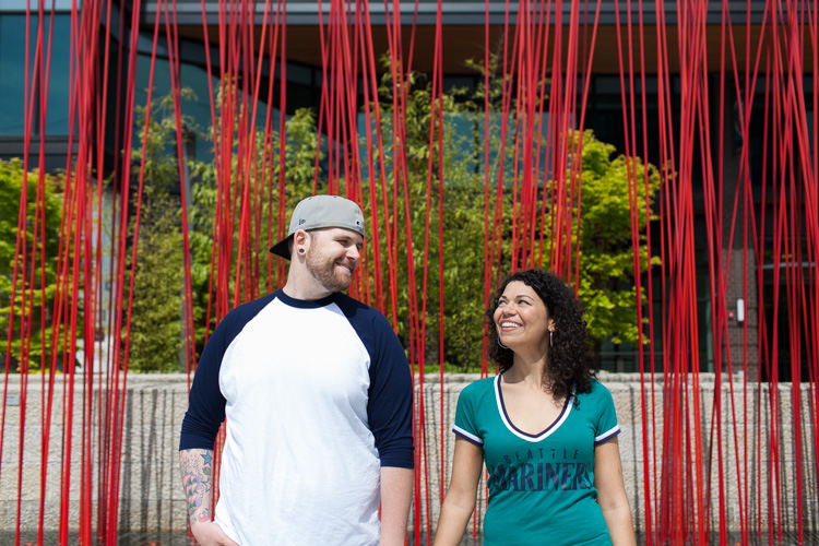 engagement photo shoot at safeco field in seattle washington