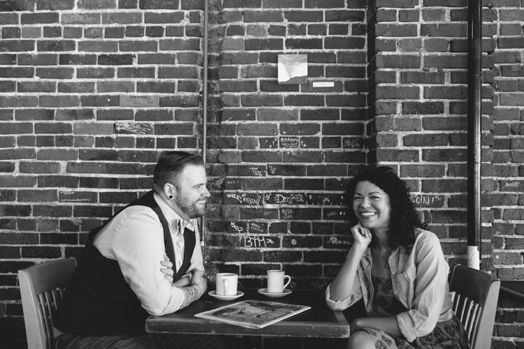 engagement photos at brick wall