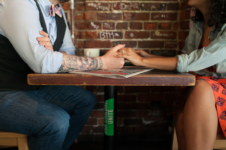 engagement session with tattooed couple