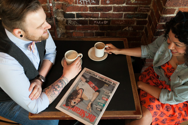 coffee and gossip for engaged couple in seattle