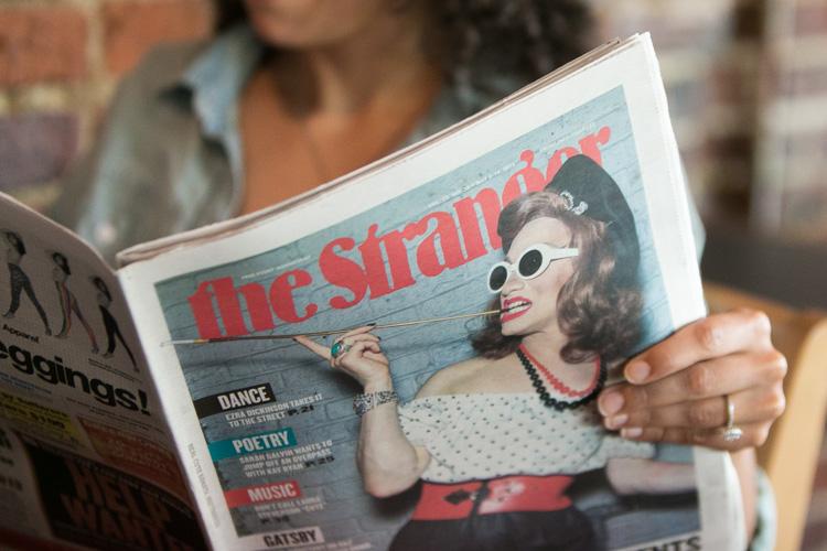 the stranger magazine during engagement session