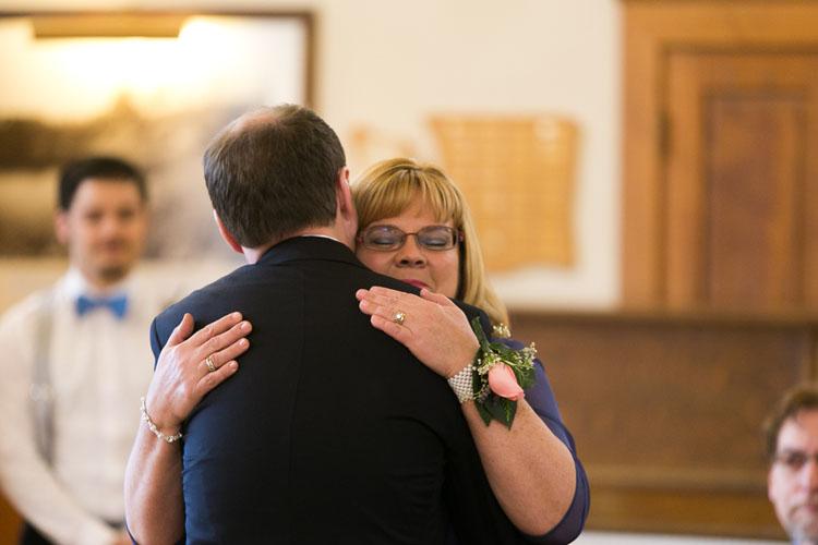 groom hugging mother steilacoom, washington wedding
