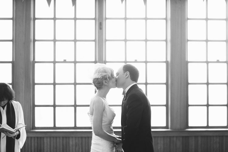bride and groom first kiss steilacoom town hall washington
