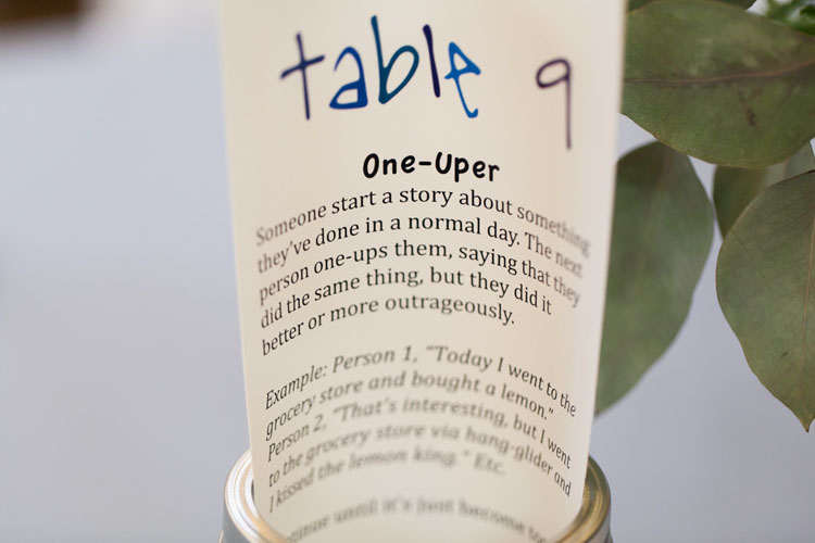 table games for wedding reception