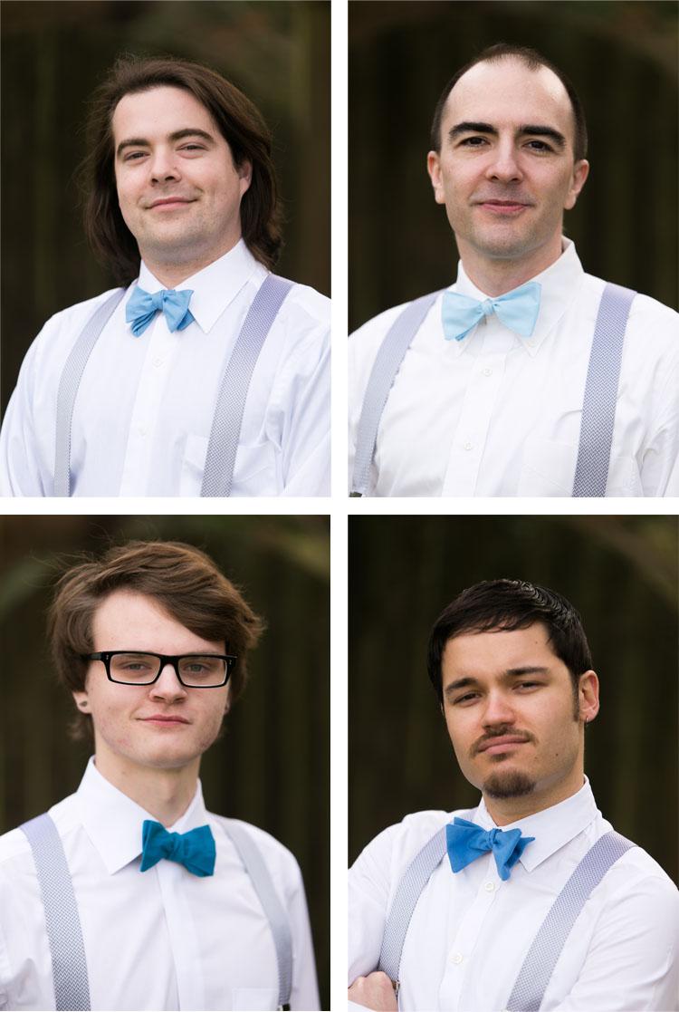 groomsmen in grey suspenders with blue bow ties
