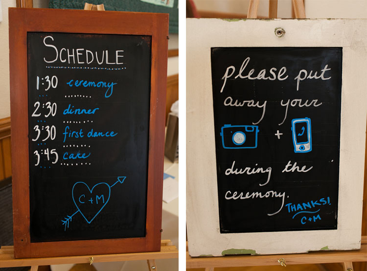 unplugged wedding day schedule on chalkboard