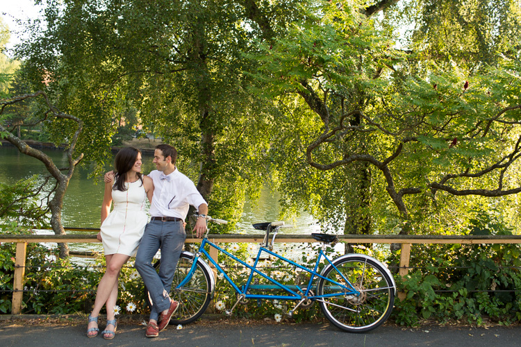 summer engagement session with tandem bike and bow tie