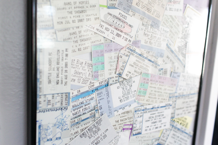 ticket stubs wall art