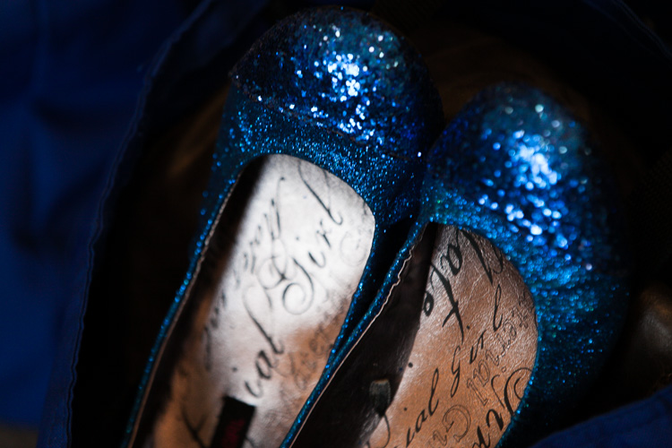 sparkly blue wedding flats