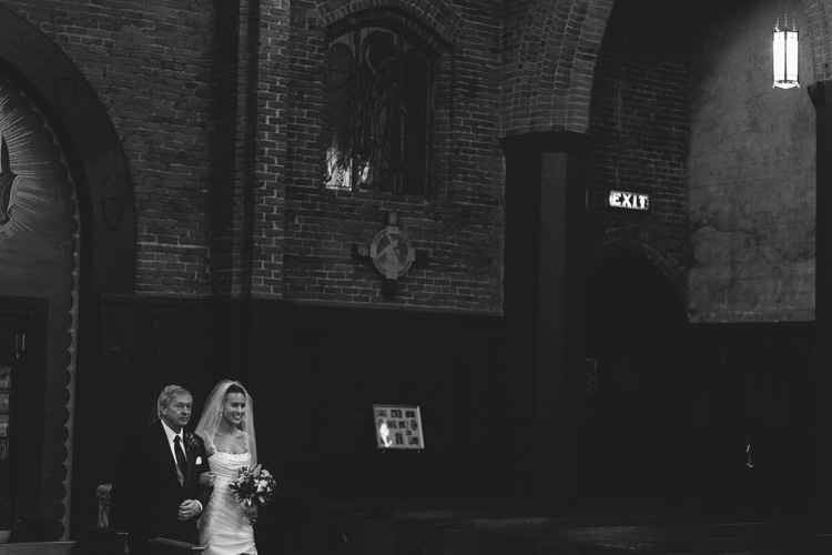 bride and father catholic church wedding
