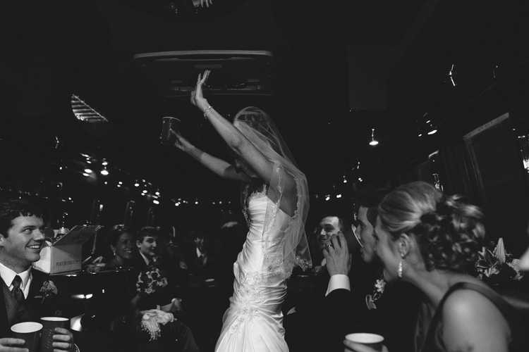 bride dancing in party bus