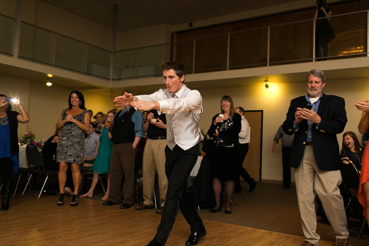 groom dancing seattle wedding reception