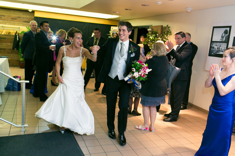 bride and groom grand exit seattle wedding reception