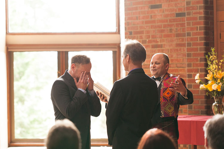 groom crying same sex wedding