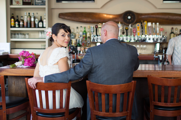 beautiful bride in vintage dress at classy bar before wedding