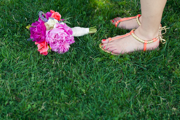 spring bouquet and orange sandals for wedding
