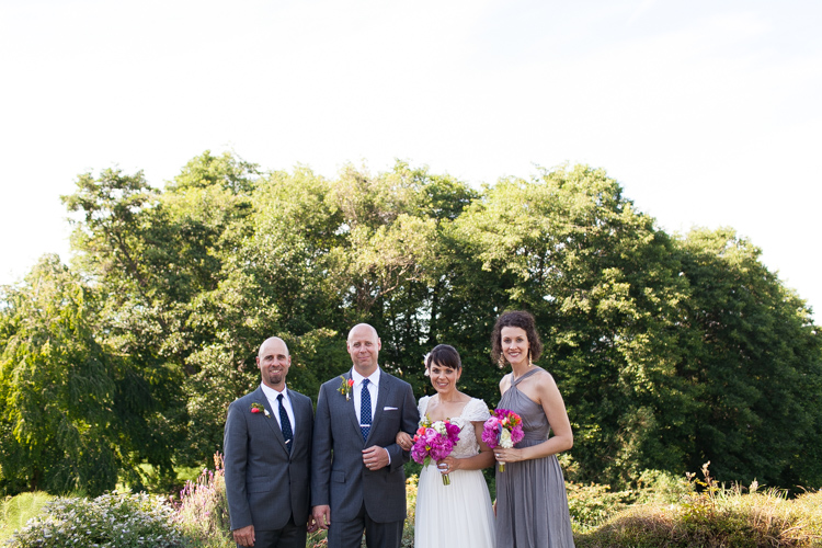 springtime wedding party in grey and pink