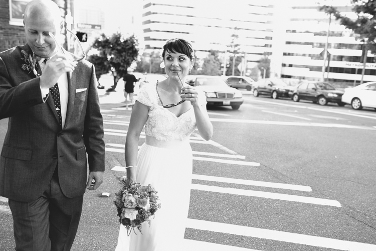candid moment between bride and groom in seattle