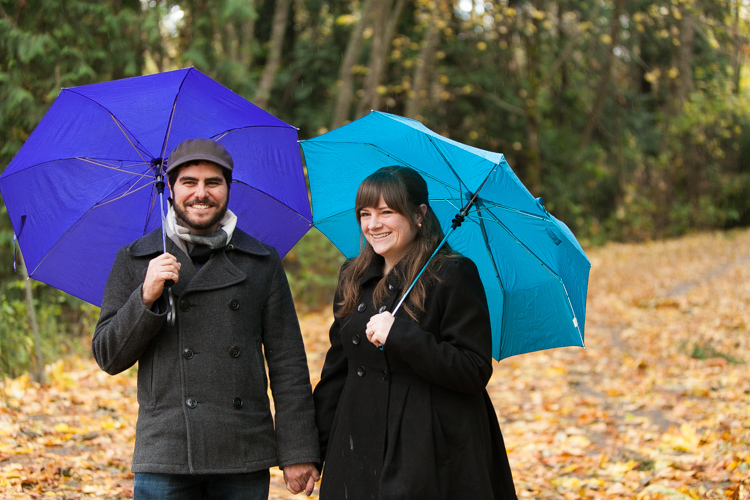 engagement session with colored umbrellas